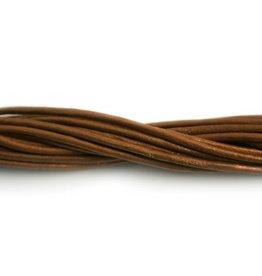 CDQ Leerveter 2mm bruin metal 1meter