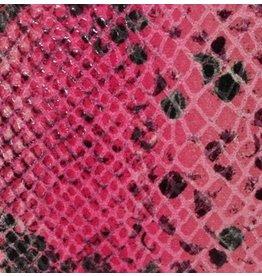CDQ Plat leder Roze reptiel-snake 13mmx85cm