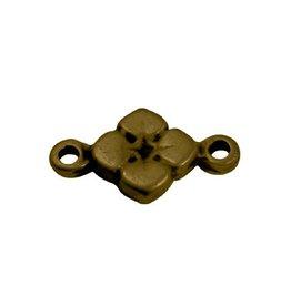 CDQ 2 eye flower charm 11mm antique gold