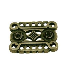 CDQ grieks ornament 7 ogen aan beide zijden 29x22mm antiek goud