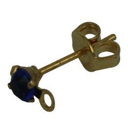 CDQ oorsteker met steentje en oogje 3mm cobalt blauw gekleurd goudkleur