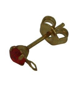 CDQ oorsteker met steentje en oogje 3mm koi oranje goudkleur