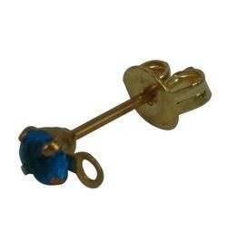 CDQ oorsteker met steentje en oogje 3mm turquoise goudkleur