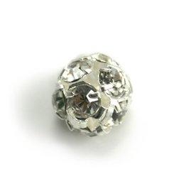 CDQ Runde Metallperle mit Glitzersteinen 10mm versilbert
