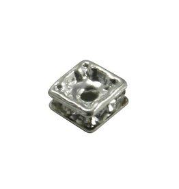 CDQ strassrondel 4,5x4,5mm vierkant verzilverd
