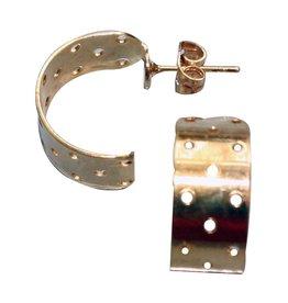 CDQ Dehnungsohrstecker Halbkugel 17mm Goldfarbe p. 20 St
