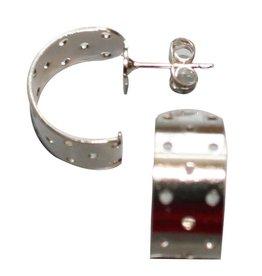 CDQ Dehnungsohrstecker Halbkugel 17mm Silber-p. 20 St