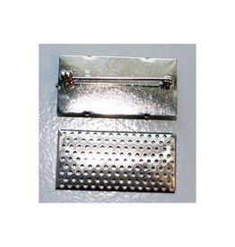CDQ Zeef broche langwerpig 41x21mm zilverkleur per 5 stuks