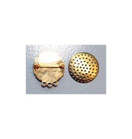 CDQ Zeef broche 3 ringetjes 23mm goudkleur per 10 stuks