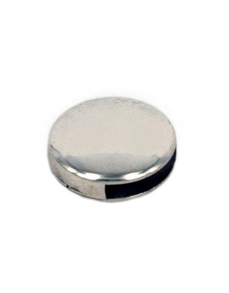 CDQ Leerschuiver glad rond 13mm zilverkleur per 100 stuks