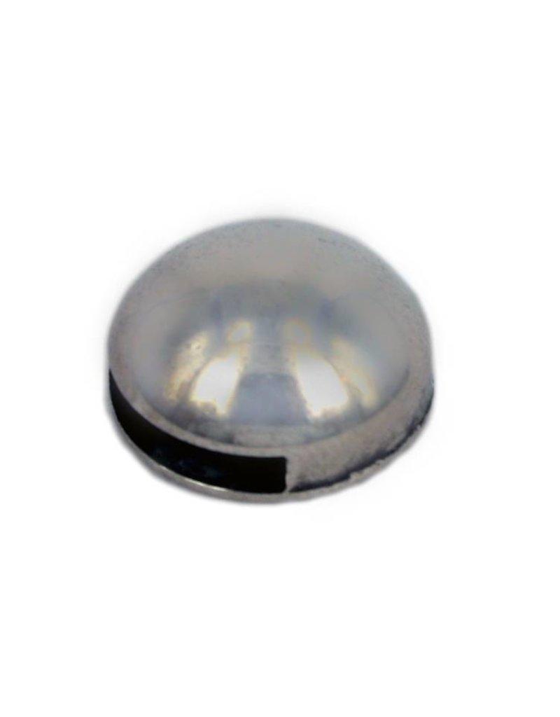CDQ Leerschuiver rond bol 13mm zilverkleur per 100 stuks