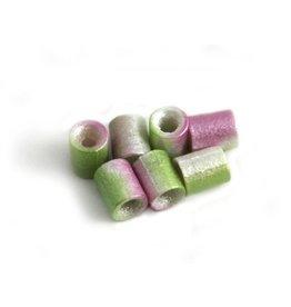 CDQ Czech glass bead tube lime green lilac metallic