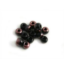 CDQ Tschechische Glasperlen rocailles schwarz pink metallic