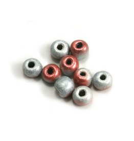 CDQ Czech glass bead pastel pink silver