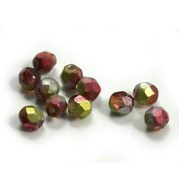CDQ Czech glass bead fuchsia lime metalic coating
