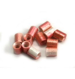 CDQ Czech glass bead tube pastel pink white metallic