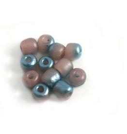 CDQ Czech glass bead pastel pink turquoise metallic