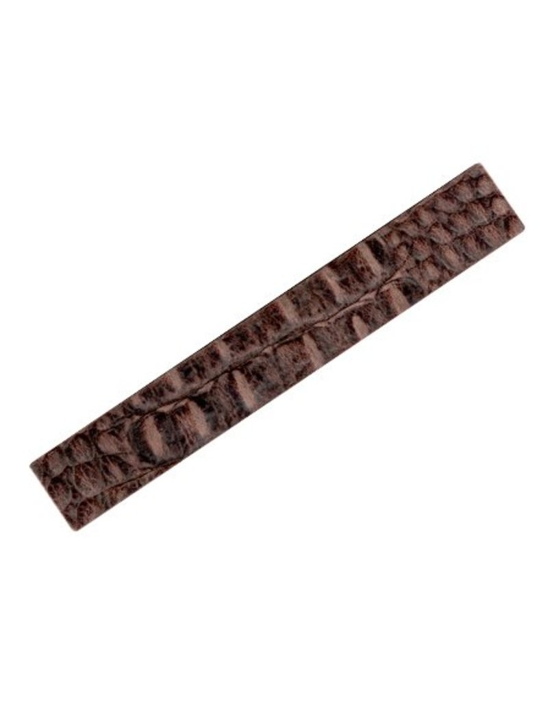 CDQ leerband breed 29mm lengte 19cm crocodile print bruin recht