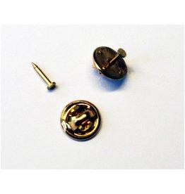 CDQ Knoopsteker dopje 10mm met pinnetje plaatje 2mm goudkleur per 100 stuks