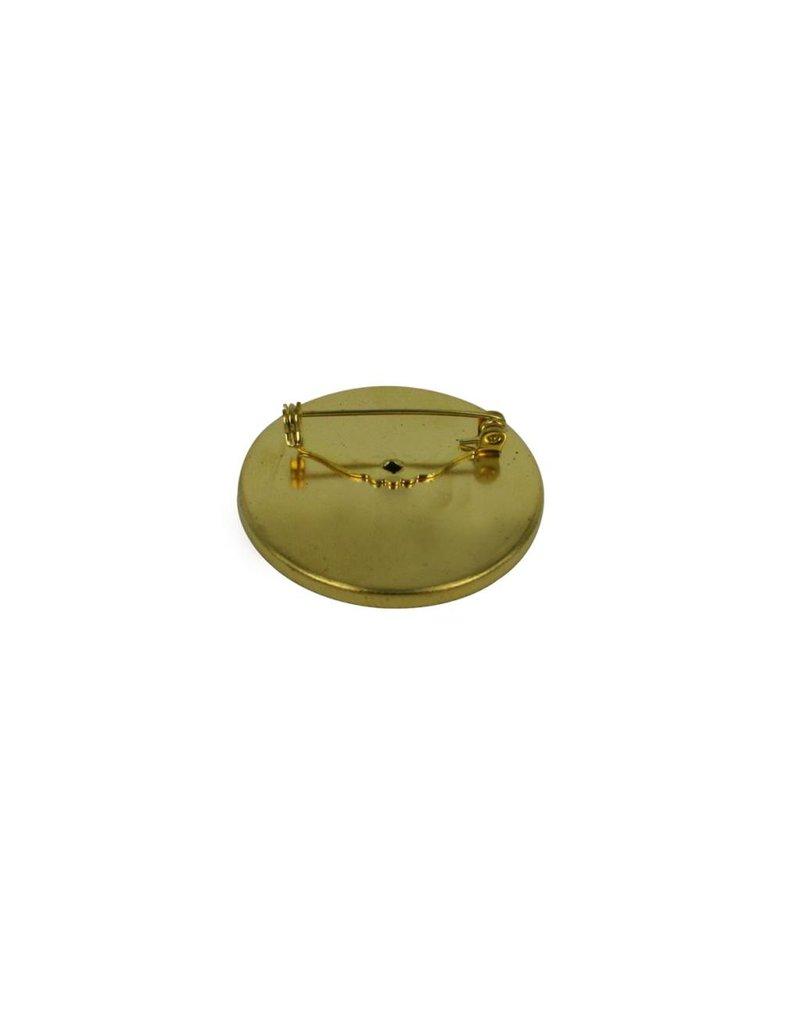 CDQ Brochespeld inleg randje rond 45mm goudkleur