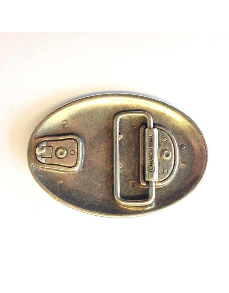 CDQ belt buckle bull 9cmx6.5cm ovaal