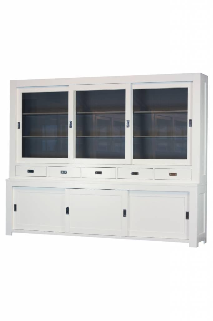 Strakke winkelkast 280cm RAL9010 met binnenzijde in RAL7005