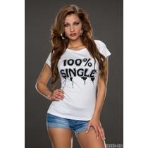 100% Single shirt wit