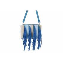 Schoudertas van pu met franjes blauw