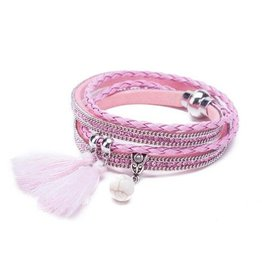 Wikkelarmbanden zwart,roze,blauw,grijs,creme