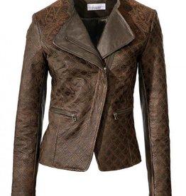 Linea-Tesini Leren Bikerjack, brown