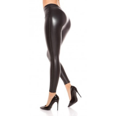 Leather look legging  black met rivet look