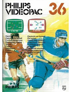 PHILIPS VIDEOPAC G7000 GAME 36 - ELECTRONIC SOCCER - ELECTRONIC ICE HOCKEY
