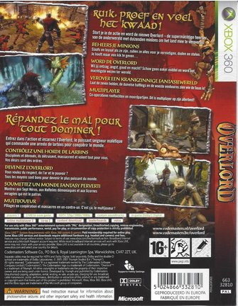 OVERLORD for Xbox 360 - with box, manual & map