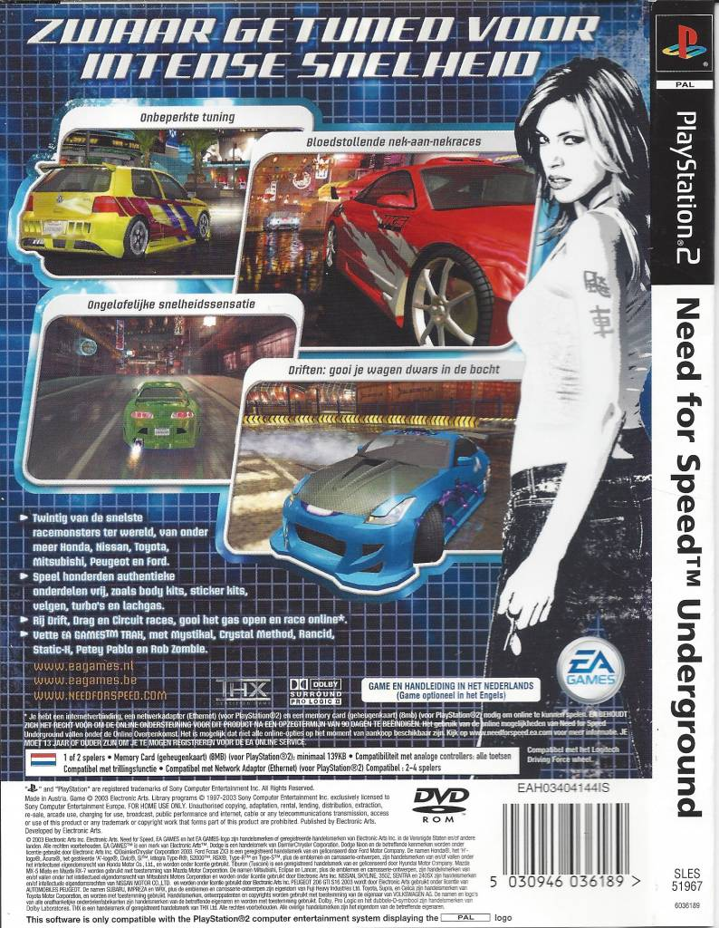NEED FOR SPEED UNDERGROUND For Playstation 2 PS2