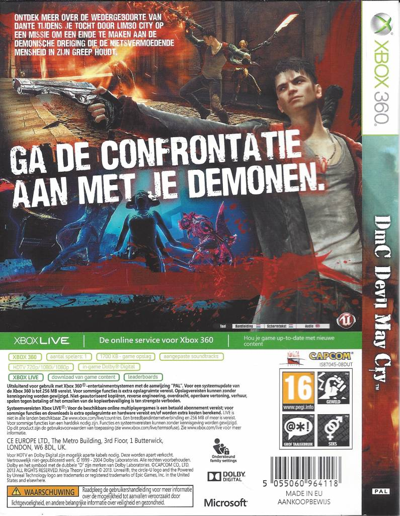 DMC DEVIL MAY CRY for Xbox 360 - manual in Dutch