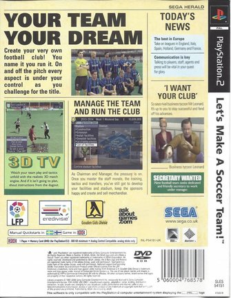 LET'S MAKE A SOCCER TEAM for Playstation 2 PS2
