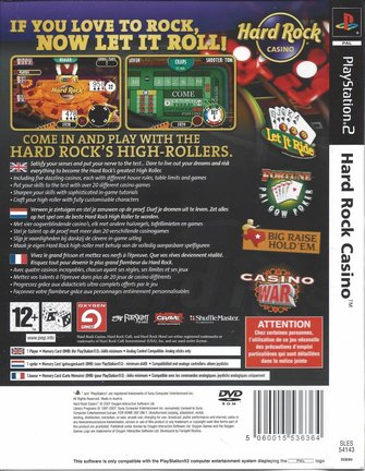 HARD ROCK CASINO for Playstation 2 PS2