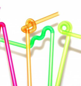 Trinkhalm Neon Kreativ mit langer Flexzone, 6x50 Stück