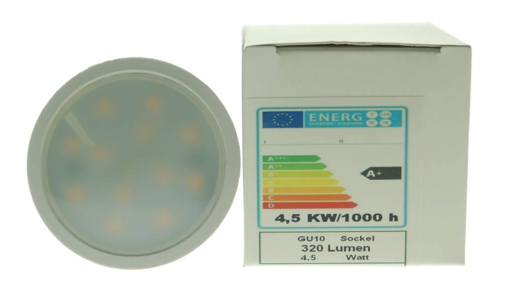 LED Strahler GU 10 warmweiß, 4,5 Watt, 320 Lumen - weiße Keramik Optik