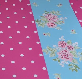 Bureau onderlegger roze Stip & blauwe Bloem