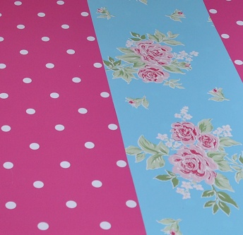 Bureau onderlegger roze Stip & blauwe Bloem - Hippe Kinderkamers