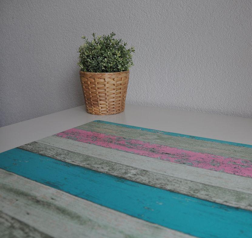 Bureau onderlegger Steigerhout Roze en turquoise