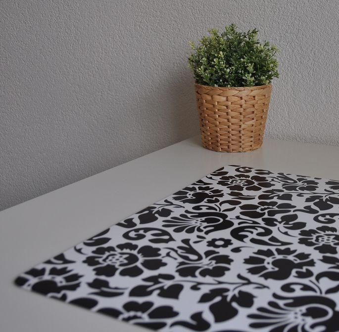 Bureau onderlegger Barok zwart witte bloem