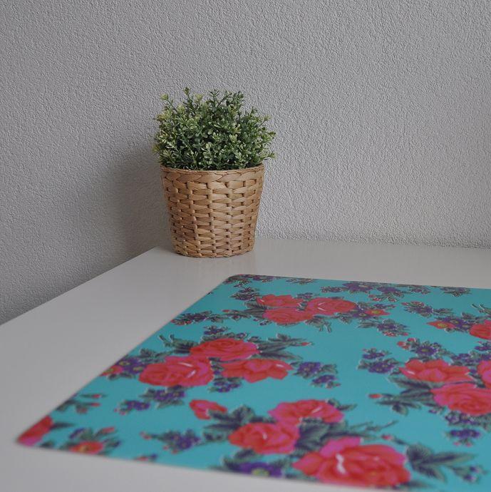 Bureau onderlegger Turquoise met bloem in rood roze