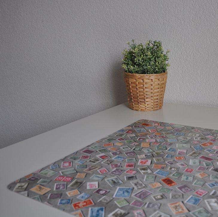 Bureau onderlegger Postzegel verzameling