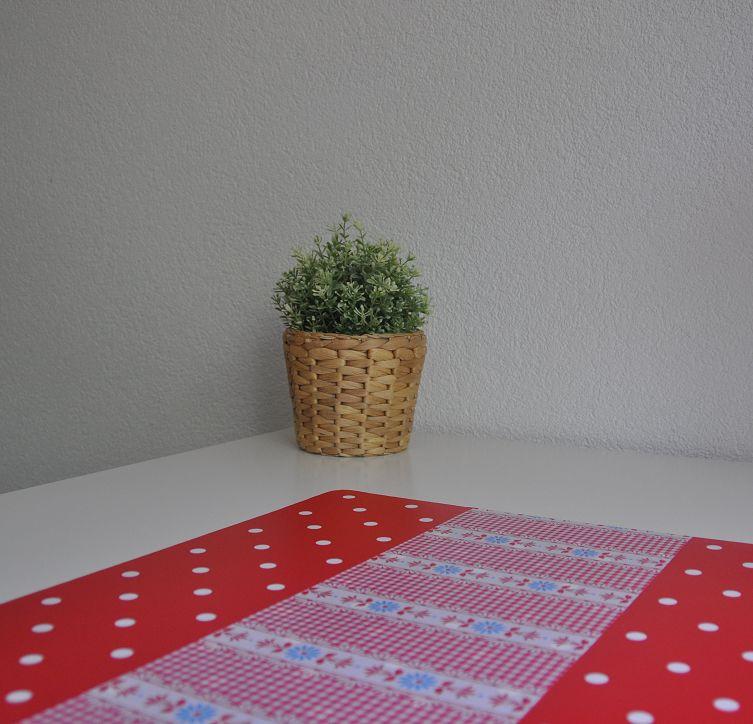 Bureau onderlegger Rood met witte Stip en bloem