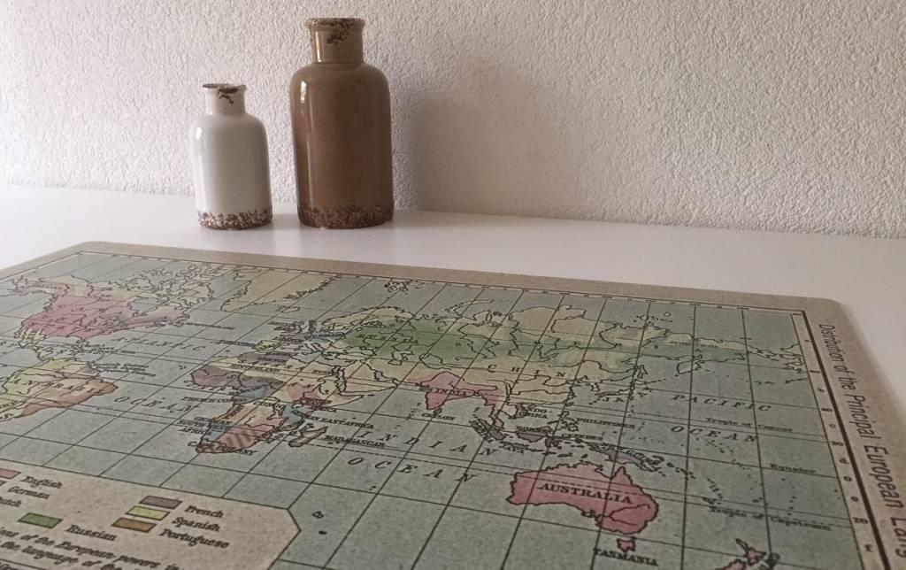 """Bureau onderlegger wereldkaart, """"old look"""""""