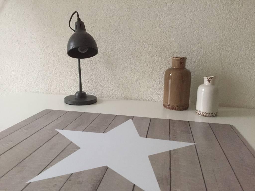 HippeKinderkamers Bureau onderlegger Steigerhout met STER wit, stoer en fris voor jongens en meisjes