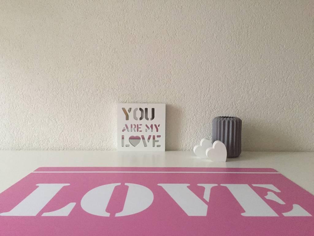 HippeKinderkamers Bureau onderlegger LOVE in roze en wit, GIRLS love it
