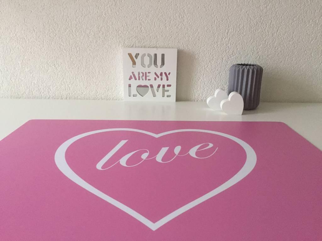 Bureau onderlegger roze met HART en LOVE in wit, hio voor meisjes